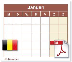 belgische kalender  printbare kalender