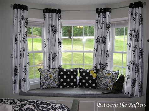 images of bay window curtains between the rafters do it yourself bay window curtain rod