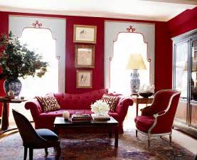 living room red dazzling jewel toned decor
