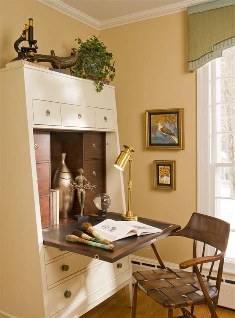 good looking desk armoire in home office eclectic with