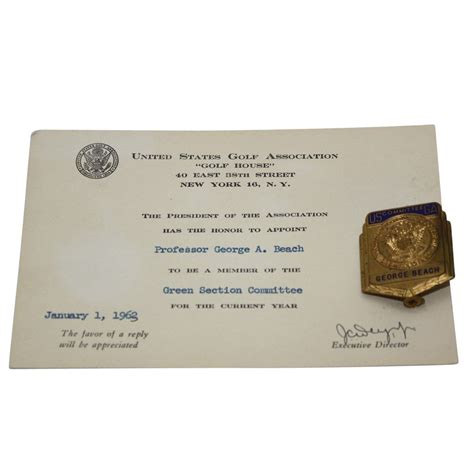 usga green section lot detail 1963 usga green section committe invite with pin