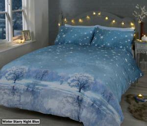 winter starry night blue duvet quilt cover bedding set pillowcases ebay