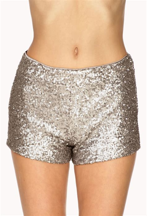 beaded shorts forever 21 subtle sequined shorts in silver gunmetal lyst