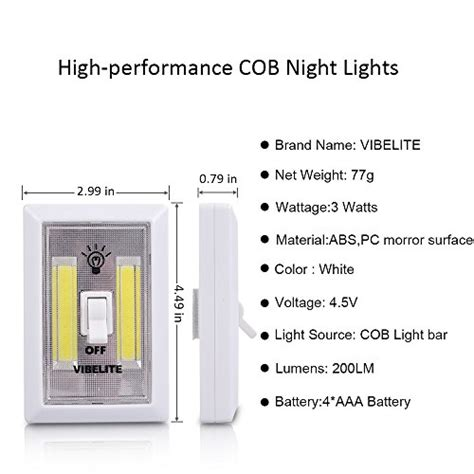 cabinet door operated light switch vibelite battery operated led night lights cob led