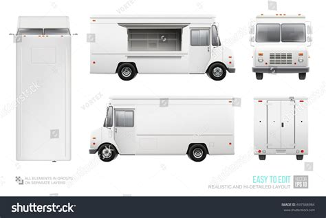 Blank Food Truck Hidetailed Vector Template 스톡 벡터 697348984 Shutterstock Blank Food Truck Template