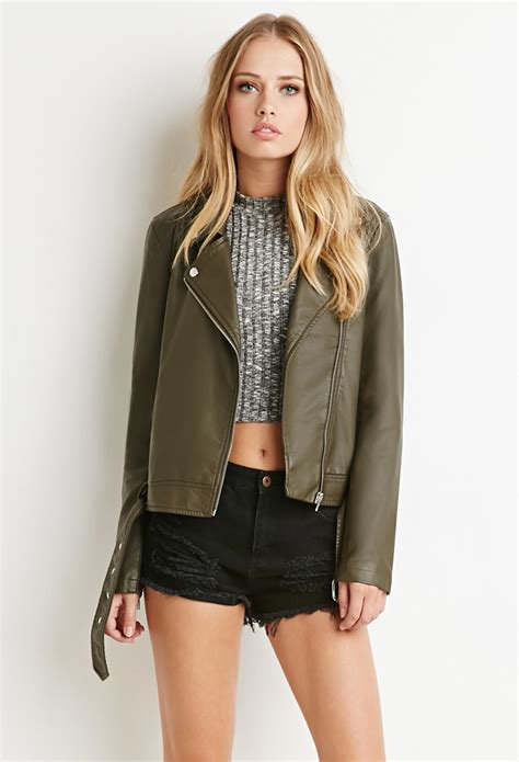 faux leather lyst forever 21 faux leather moto jacket in green