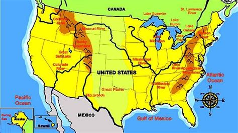 usa map plain map of us and canada with rivers mountains plains