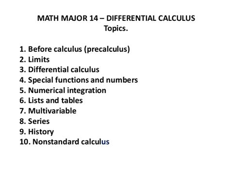 Ab Calculus Topic Outline by Math Major 14 Differential Calculus Pw