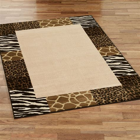 Area Rugs Animal Print Safari Collage Animal Print Border Area Rugs