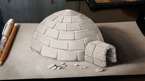 How To Make Paper Igloo - drawing a 3d igloo anamorphic drawing on paper