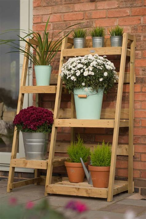 tier wooden garden etagere plant stand