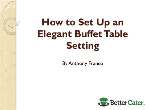 how to set up an buffet table