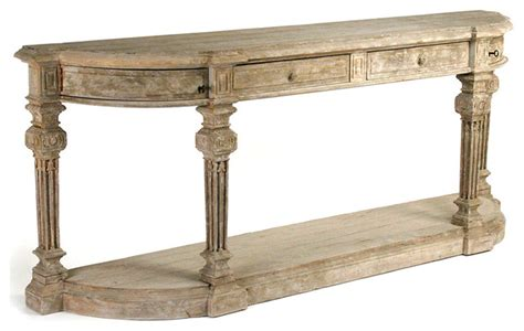 Long Accent Tables | rockford french country heavy distress hand carved long