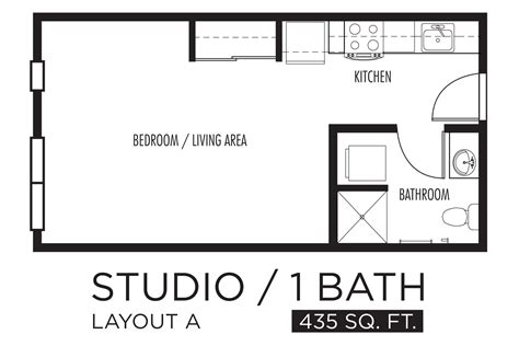 studio floor plan layout drawn kitchen studio apartment pencil and in color drawn