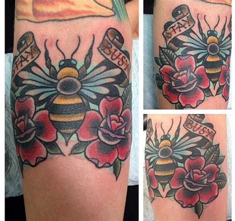 rose and bee tattoo 30 traditional bee tattoos