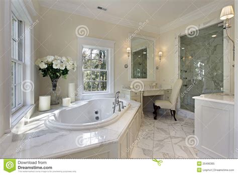 Master Bath With Shower Only master bath in luxury home royalty free stock photo