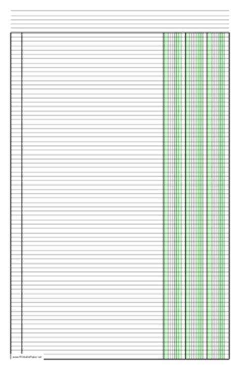 printable columnar paper with three columns on ledger
