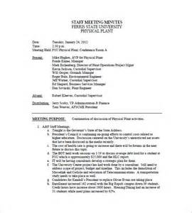 Template Of Meeting Minutes by Staff Meeting Minutes Template 6 Free Sle Exle