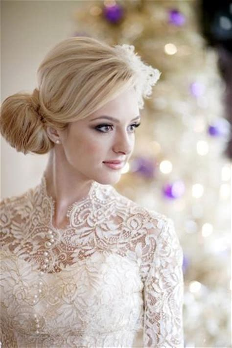 Wedding Hairstyles For Lace Dresses by Ivory Sleeved Lace Wedding Dress Winter Wedding