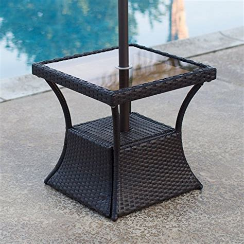 outdoor side table with umbrella patio square side table with glass top and umbrella
