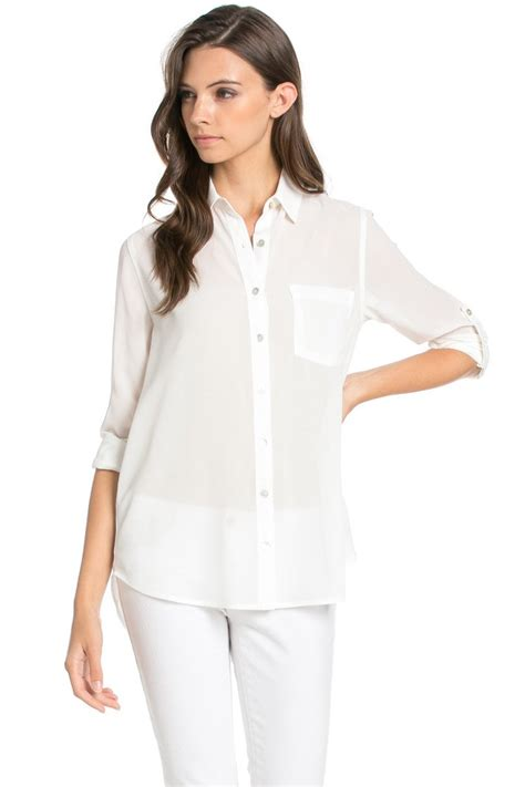 S White Sleeve Button Up Blouse by Roll Up Sleeve Button White Chiffon Blouse My Yuccie