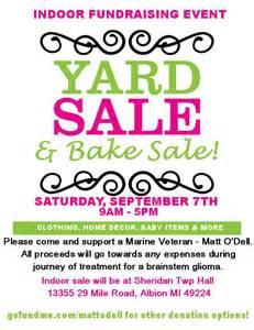 Fundraiser yard sale flyer indoor yard sale and bake sale