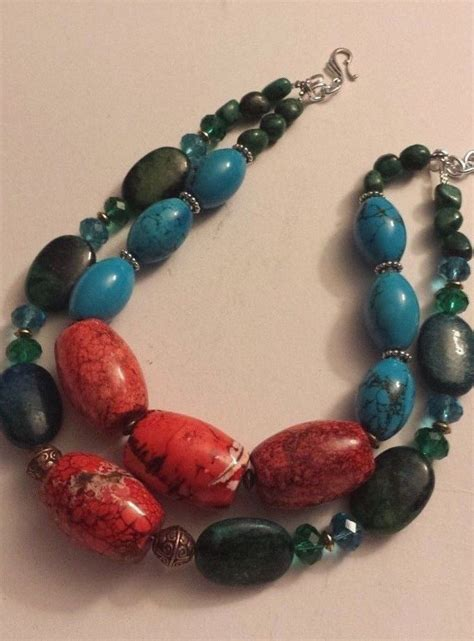 Acc548 Necklace Colorfull Big chunky big bold colorful statement necklace turquoise necklace