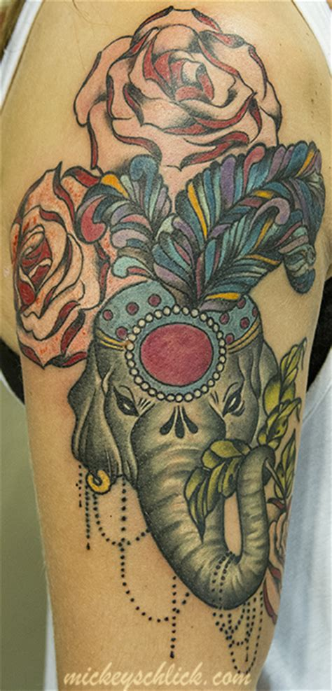 elephant and rose tattoo elephant images designs