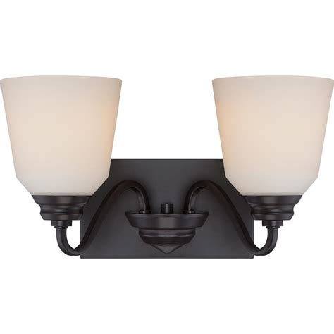 Glomar 3 Light Mahogany Bronze Vanity Light With Chagne Linen Washed Glass Hd 1265 The Home Glomar Bailey 15 75 In 2 Light Mahogany Bronze Vanity Light Cli Sc323775 The Home Depot