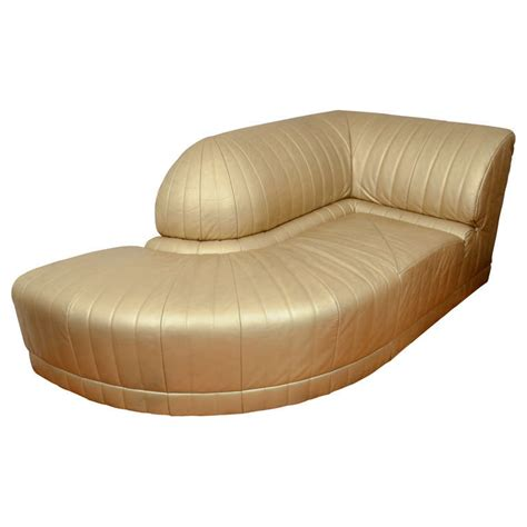 gold chaise lounge chair vintage art deco gold leather corner chaise lounge at 1stdibs
