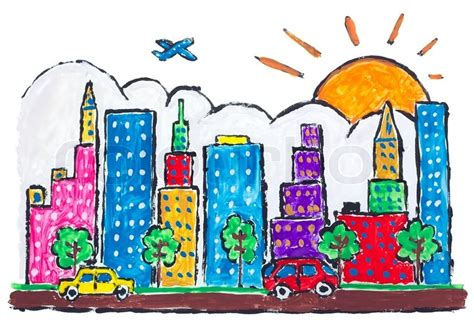 Home Architecture Design India Free by Isolated Big Urban Futuristic City Town Painted Abstract