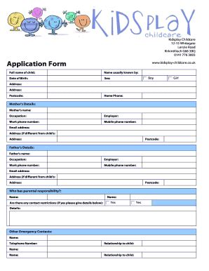 Daycare Registration Form Template Fill Online Printable Fillable Blank Pdffiller Daycare Application Template