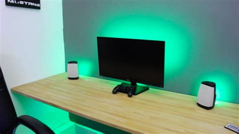 led lights for computer desk make any desk set up awesome led strip lights youtube