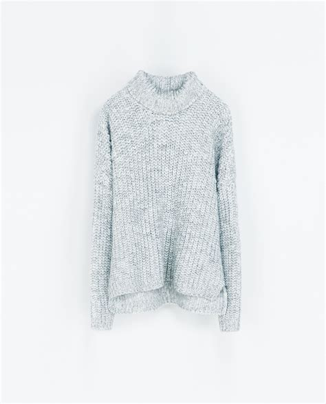 zara knit sweater zara knit sweater in gray grey marl lyst