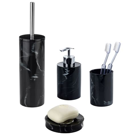 wenko marble black bath accessories set at