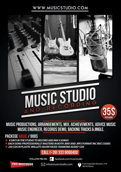 music recording studio flyer poster by giunina on deviantart