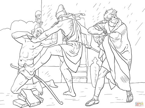 Coloring Pages Moses Killing Egyptian | moses kills the egyptian overseer coloring page free