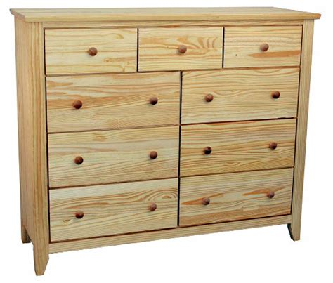 Unfinished Bedroom Dressers 9 Drawer Unfinished Solid Pine Wood Dresser With Extension Drawer Glides And No Knots