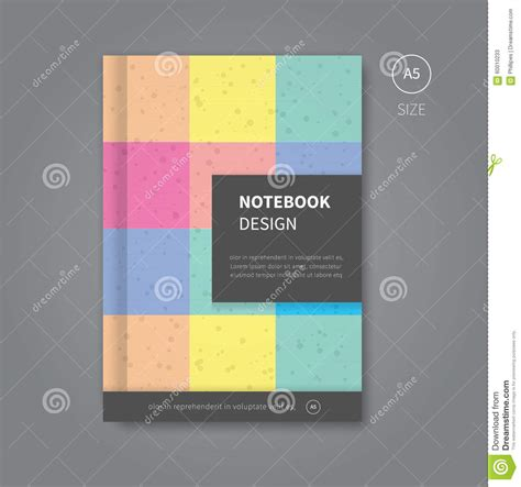 notebook design template notebook design in pastel colors stock vector image