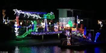 kangaroo christmas lights australian lights include sleigh pulled by kangaroos and santa daily mail