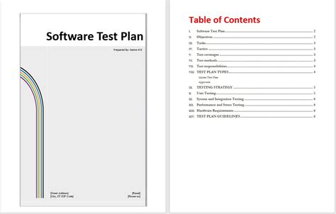 software test plan template format template
