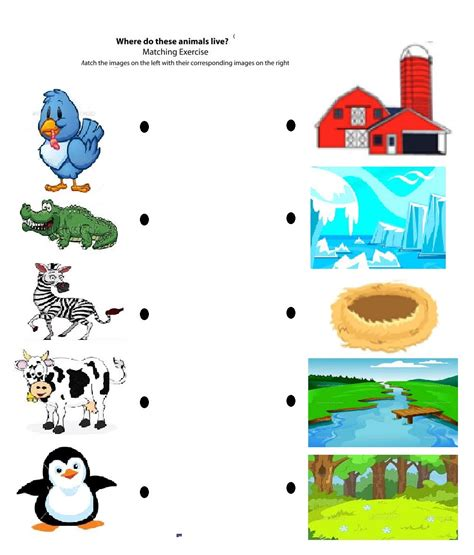 printable animal homes activities for kindergarten matching worksheets kids