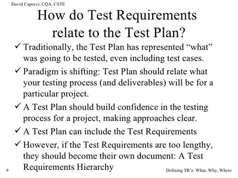 Tester Requirements by Test Requirements