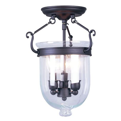 Glass Flush Mount Ceiling Light Shop Livex Lighting Jefferson 10 In W Bronze Clear Glass Semi Flush Mount Light At Lowes
