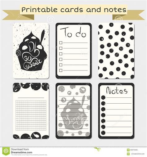 printable decorative note cards printable journaling cards notes designs stock vector