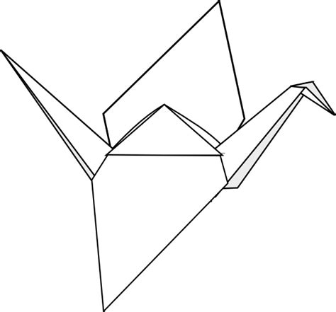 Origami Bird Drawing - origami crane clip at clker vector clip