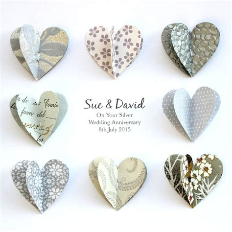 Silver Anniversary Wedding by Personalised Silver Anniversary Paper Hearts By Sweet