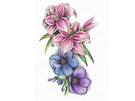 violet flower tattoo designs lilies and violet design