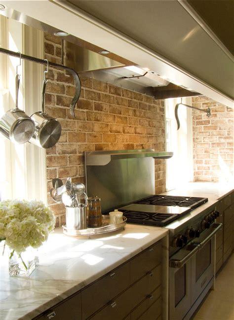 exposed brick kitchen backsplash backsplash pinterest taupe cottage kitchen exposed brick backsplash kitchen