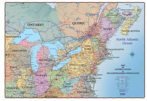 map of eastern usa and canada northeastern usa and southeastern canada 48 quot x 72